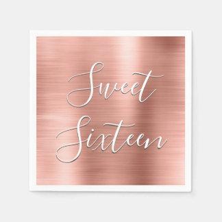 Modern Sweet 16 Birthday Rose Gold Blush Pink Paper Napkin