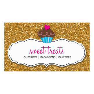 MODERN SWEET cute cupcake pink gold glitter Double-Sided Standard Business Cards (Pack Of 100)