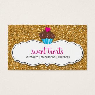 MODERN SWEET cute cupcake pink gold glitter Business Card