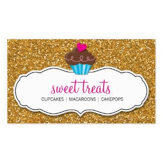 MODERN SWEET cute cupcake pink gold glitter Pack Of Standard Business Cards