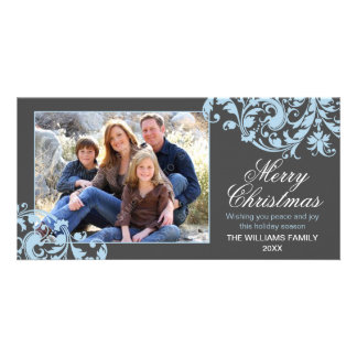 Modern Swirl Flourish Christmas Gray and Blue Picture Card