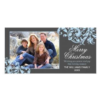 Modern Swirl Flourish Christmas Gray and Blue Photo Greeting Card