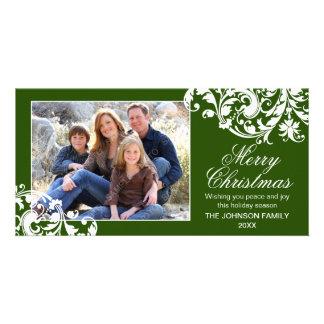 Modern Swirl Flourish Christmas Green and White Photo Greeting Card