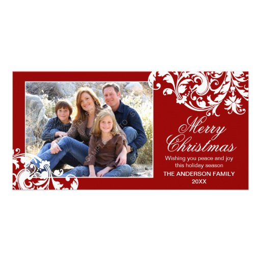 Modern Swirl Flourish Christmas Red and White Photo Cards