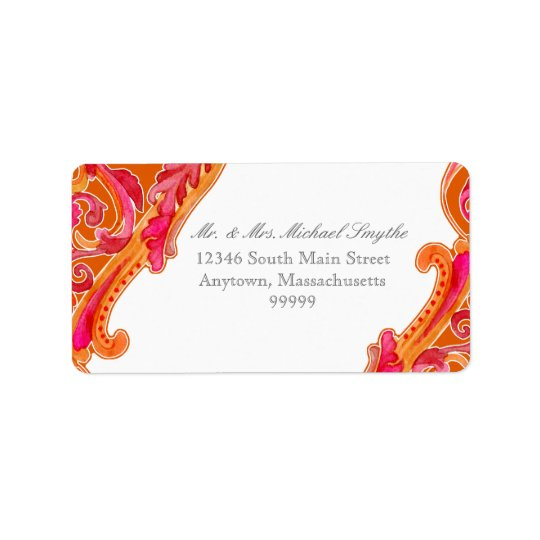 Modern Swirl Flourish Heart Tangerine Orange Address Label