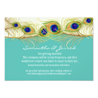 """Modern Swirl Peacock Feathers Engagement Save Date 5"""" X 7"""" Invitation Card"""