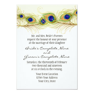 Modern Swirl Peacock Feathers Monogram Monogrammed 13 Cm X 18 Cm Invitation Card