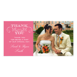 Modern Swirl Pink Wedding Photo Thank You Cards Photo Card