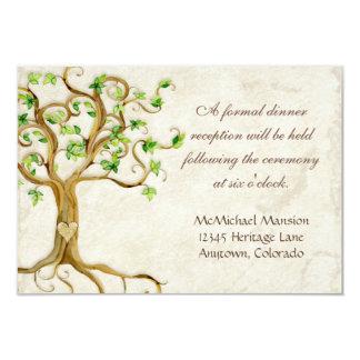 Modern Swirl Tree Roots Leaf Antique Parchment 9 Cm X 13 Cm Invitation Card