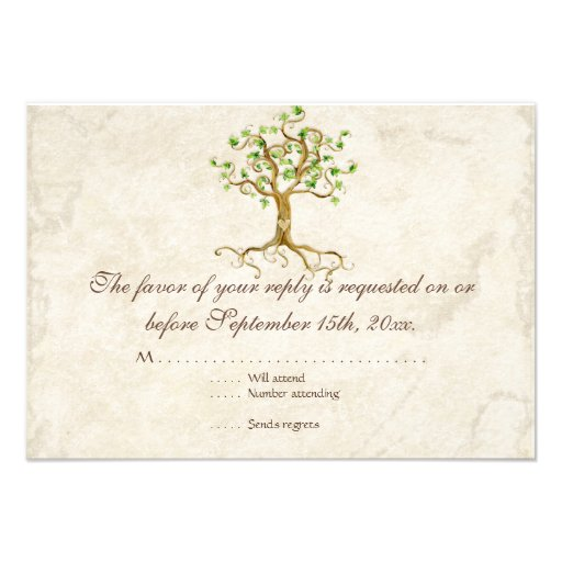 Modern Swirl Tree Roots Leaf Antique Parchment Custom Announcements
