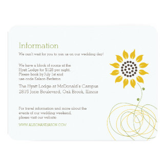 Modern Swirly Sunflower Information Card 11 Cm X 14 Cm Invitation Card