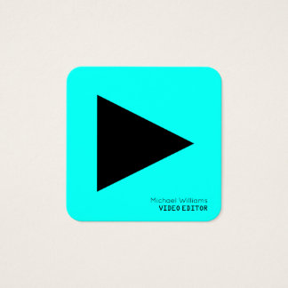 Modern symbolic play button triangle square business card