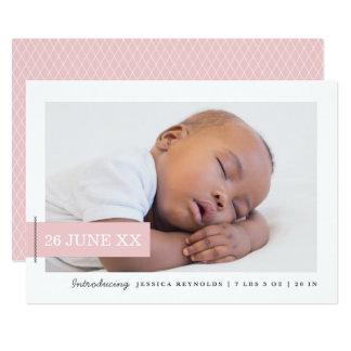 Modern Tag Photo Birth Announcement Card