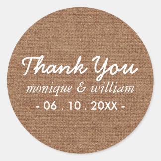 Modern Tan Faux Burlap Cursive Thank You Wedding Round Sticker