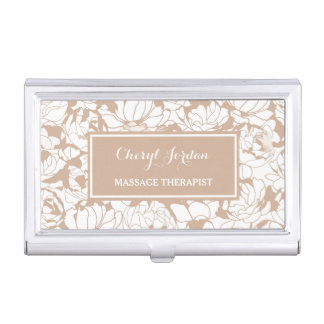 Modern Tan Floral Girly Massage Therapist Business Card Holder