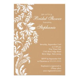 Modern Tan Leaf Swirl Bridal Shower Invitation