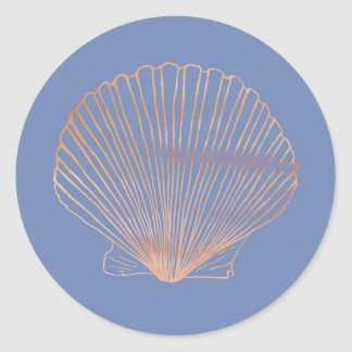 Modern Tan Scallop Shell Classic Round Sticker