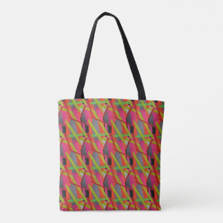 Modern Tape Art Neon Tote Bag