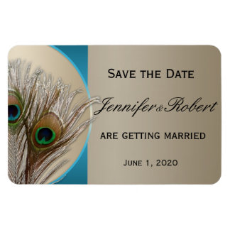 Modern Taupe Aqua Peacock Feather Save the Date Rectangular Photo Magnet