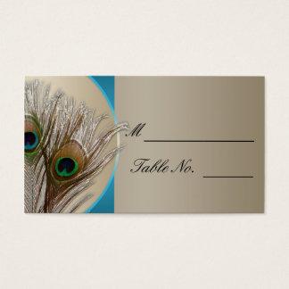 Modern Taupe Aqua Peacock Feather Weddin PlaceCard