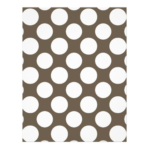 Modern Taupe White Polka Dots Pattern Full Color Flyer