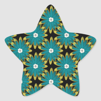 Modern Teal and Green Flower Pattern Star Stickers
