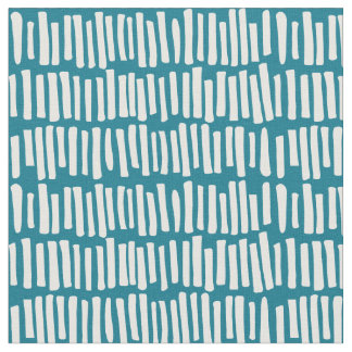 Modern Teal and White Line Pattern Fabric