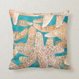 Modern Teal Blue Starfish Cushion