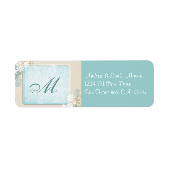 Modern Teal Blue & Tan Floral Monogram Address Lab Return Address Label