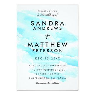 Modern teal blue watercolor brushstrokes wedding 13 cm x 18 cm invitation card