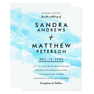 Modern teal blue watercolor brushstrokes wedding card
