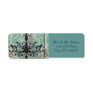 modern Teal Chandelier vintage peacock Wedding Return Address Label