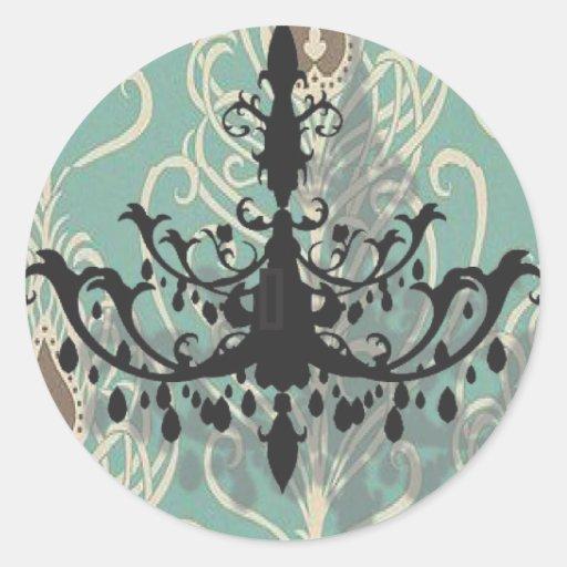 modern Teal Chandelier vintage peacock Wedding Stickers