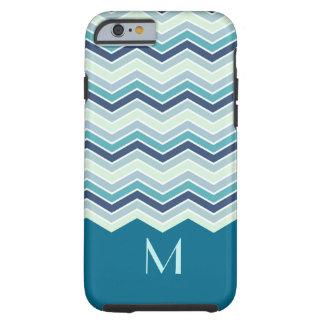Modern Teal Chevron Stripes Monogram Tough iPhone 6 Case