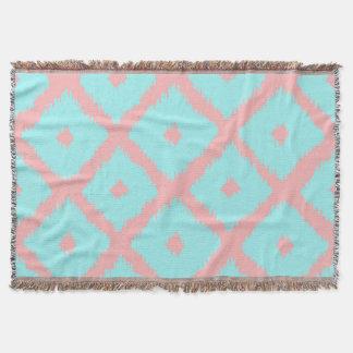 Modern teal coral trendy ikat pattern throw blanket