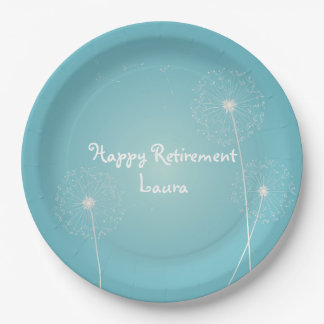 Modern, Teal Dandelion Retirement Party Plates 9 Inch Paper Plate