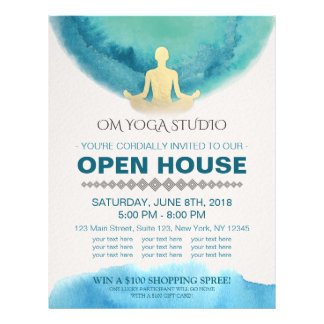 Modern Teal Gold Watercolor YOGA Studio Open House Flyer