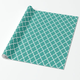 Modern Teal Green and White Moroccan Quatrefoil Wrapping Paper