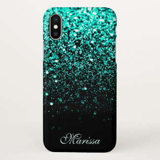 Modern Teal Green Glitter Cool Black iPhone X Case
