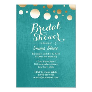 Modern Teal Green Gold Dots Bridal Shower Card