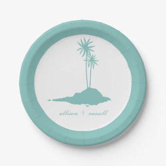 Modern Teal Island Beach Wedding 7 Inch Paper Plate