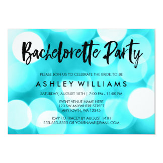 Modern Teal Lights Bachelorette Party Invitations