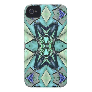 Modern Teal Lilac Peach Artistic Pattern iPhone 4 Cover