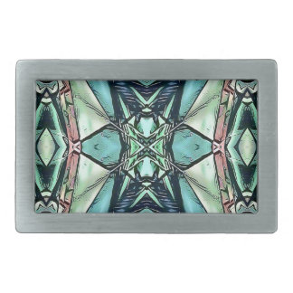 Modern Teal Lilac Peach Artistic Pattern Rectangular Belt Buckle