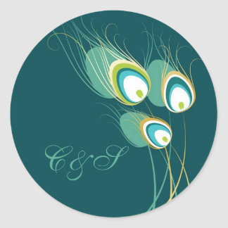 Modern Teal Peacock Wedding Favor Stickers