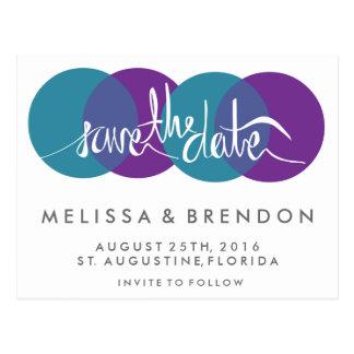 Modern Teal Purple Wedding Save Date Postcards
