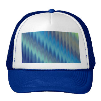 Modern Teal Turquoise Ikat Chevron Zigzag Mesh Hat