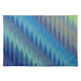 Modern Teal Turquoise Ikat Chevron Zigzag Cloth Placemat