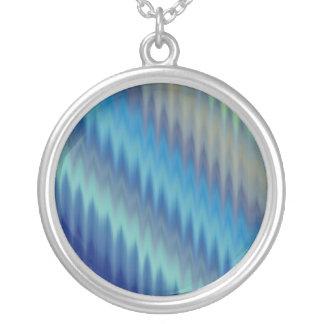Modern Teal Turquoise Ikat Chevron Zigzag Round Pendant Necklace