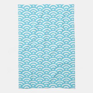 Modern Teal & White Waves Pattern Kitchen Towel